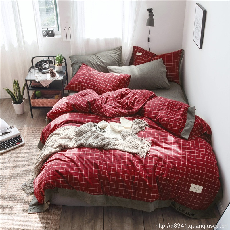 Red Grid Washed Cotton Bedding Sets Yarn Dyed Home/Hotel Bed Linen