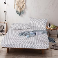 Black Striped Fitted Bed Sheet Washed Cotton Yarn Dyed Home Hotel
