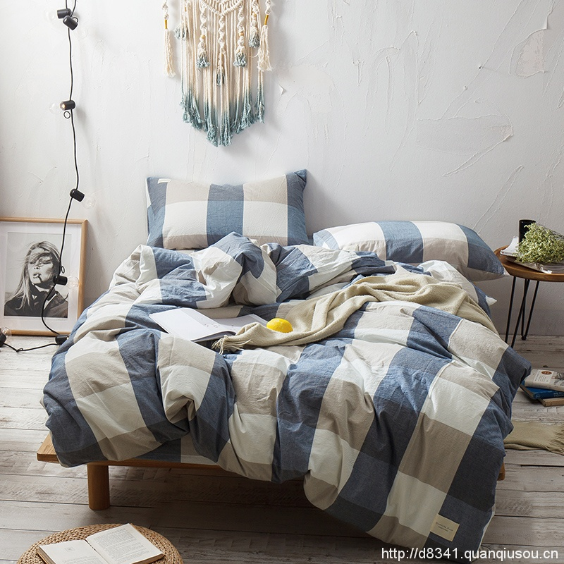 Blue Brown Grid Bedding Set Yarn Dyed Washed Cotton Soft Quilt Cover Bed Sheet