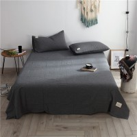 Dark Grey Flat Bed Sheet Washed Cotton Yarn Dyed Pure Plain Color Home Hotel
