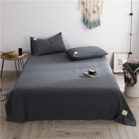 Dark Grey Grid Flat Bed Sheet Washed Cotton Yarn Dyed Pure Home Hotel