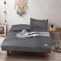 Dark Grey White Striped Fitted Bed Sheet Washed Cotton Yarn Dyed Home Hotel