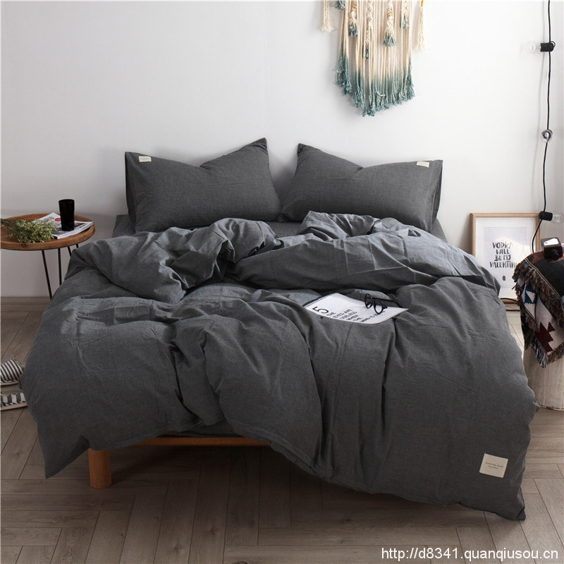 Dark Grey Washed Cotton Bedding Set Yarn Dyed Quilt Cover Flat/Fitted   Bed Sheet Luxury