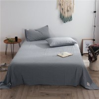 Grey Flat Bed Sheet Washed Cotton Yarn Dyed Pure Plain Color Home Hotel