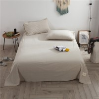 Khaki Striped Flat Bed Sheet Washed Cotton Yarn Dyed Pure Home Hotel