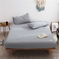 Light Grey Fitted Bed Sheet Washed Cotton Yarn Dyed Pure Plain Color Home Hotel