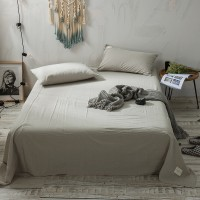 Light Grey Flat Bed Sheet Washed Cotton Yarn Dyed Pure Plain Color Home Hotel