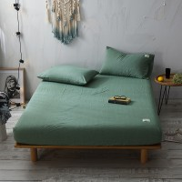 Olive Green Fitted Bed Sheet Washed Cotton Yarn Dyed Pure Plain Color Home Hotel
