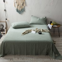 Olive Green Grid Flat Bed Sheet Washed Cotton Yarn Dyed Pure Home Hotel