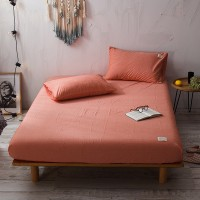 Orange Fitted Bed Sheet Washed Cotton Yarn Dyed Pure Plain Color Home Hotel