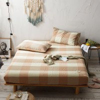Orange Khaki Grid Fitted Bed Sheet Washed Cotton Yarn Dyed Home Hotel