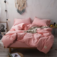 Pink Color Bedding Set Yarn Dyed Washed Cotton Soft Quilt Cover Bed Sheet Wholesale