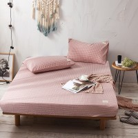 Pink Grid Fitted Bed Sheet Washed Cotton Yarn Dyed Home Hotel