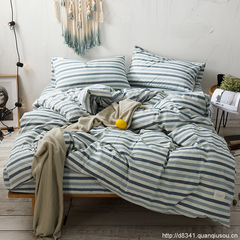 Powder Blue Stripe Bedding Set Yarn Dyed Washed Cotton Soft Quilt Cover Bed Sheet