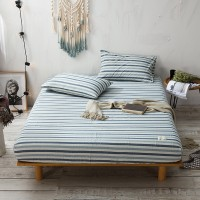 Slate Blue Stripe Fitted Bed Sheet Washed Cotton Yarn Dyed Home Hotel