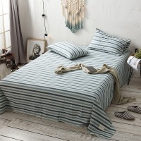 Slate Blue Striped Flat Bed Sheet Washed Cotton Yarn Dyed Pure Home Hotel