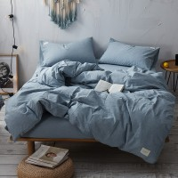 Slateblue Bedding Set Yarn Dyed Washed Cotton Soft Plain Quilt Cover Bed Sheet Wholesale