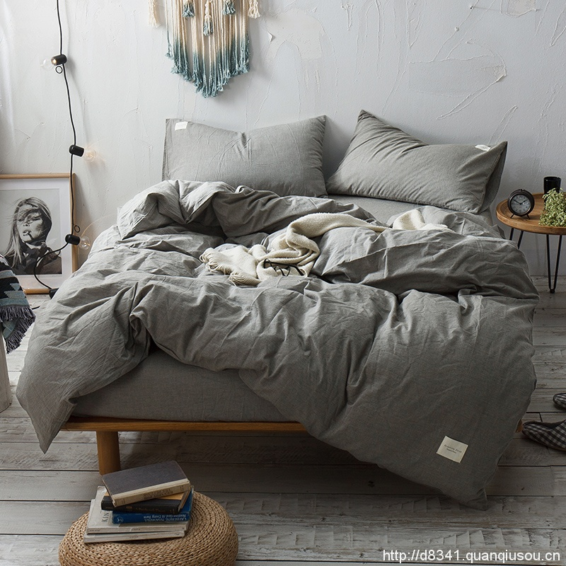 Smoky Grey Washed Cotton Bedding Set Yarn Dyed Pure Quilt Cover Bed Sheet Wholesale