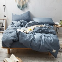 Stone Washed Blue Bedding Set Yarn Dyed Washed Cotton Soft Quilt Cover Bed Sheet Wholesale