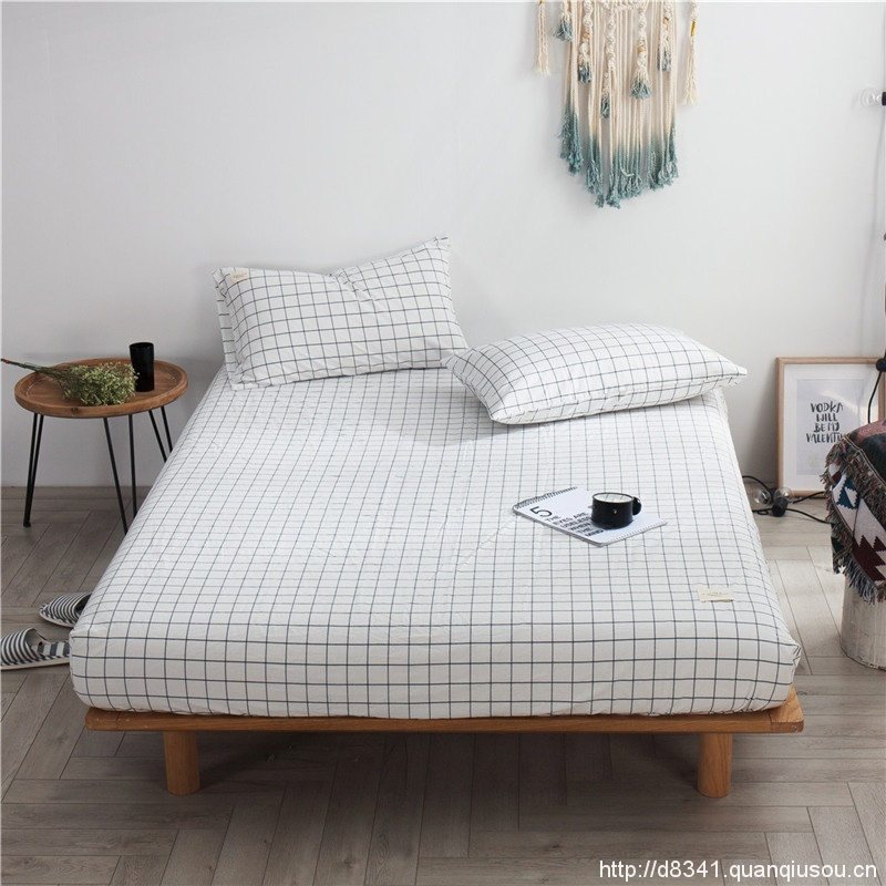 White Black Grid Fitted Bed Sheet Washed Cotton Yarn Dyed Home Hotel