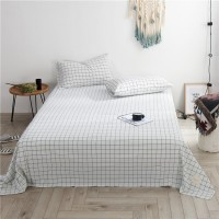 White Black Grid Flat Bed Sheet Washed Cotton Yarn Dyed Pure Home Hotel