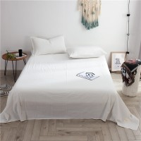 White Flat Bed Sheet Washed Cotton Yarn Dyed Pure Plain Color Home Hotel