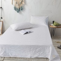 White Grid Flat Bed Sheet Washed Cotton Yarn Dyed Pure Home Hotel