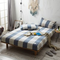 Blue Khaki Grid Fitted Bed Sheet Washed Cotton Yarn Dyed Home Hotel