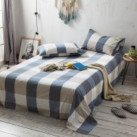 Blue Khaki Grid Flat Bed Sheet Washed Cotton Yarn Dyed Pure Home Hotel