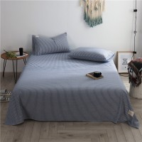 Blue White Stripe Flat Bed Sheet Washed Cotton Yarn Dyed Pure Home Hotel