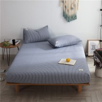 Blue White Striped Fitted Bed Sheet Washed Cotton Yarn Dyed Home Hotel