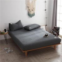 Dark Grey Fitted Bed Sheet Washed Cotton Yarn Dyed Pure Plain Color Home Hotel