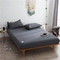 Dark Grey Grid Fitted Bed Sheet Washed Cotton Yarn Dyed Home Hotel