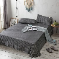 Dark Grey White Striped Flat Bed Sheet Washed Cotton Yarn Dyed Pure Home Hotel