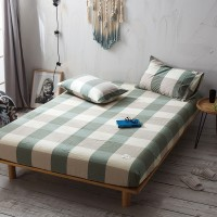Green Khaki Grid Fitted Bed Sheet Washed Cotton Yarn Dyed Home Hotel