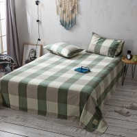 Green Khaki Grid Flat Bed Sheet Washed Cotton Yarn Dyed Pure Home Hotel