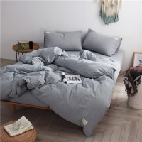 Grey Bedding Set Yarn Dyed Washed Cotton Soft Quilt Cover Men Home/Hotel Wholesale