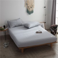 Light Blue Grid Fitted Bed Sheet Washed Cotton Yarn Dyed Home Hotel