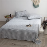 Light Blue Grid Flat Bed Sheet Washed Cotton Yarn Dyed Pure Home Hotel