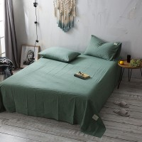 Olive Green Bed Sheet Washed Cotton Yarn Dyed Pure Plain Color Home Hotel
