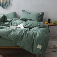 0live Green Bedding Set Yarn Dyed Washed Cotton Soft Plain Quilt Cover Bed Sheet