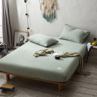 Olive Green Grid Fitted Bed Sheet Washed Cotton Yarn Dyed Home Hotel