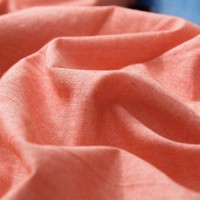 Orange Flat Bed Sheet Washed Cotton Yarn Dyed Pure Plain Color Home Hotel