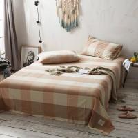 Orange Khaki Grid Flat Bed Sheet Washed Cotton Yarn Dyed Pure Home Hotel