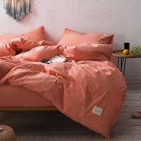 Orange Washed Cotton Bedding Set Yarn Dyed Pure Color Luxury Home Hotel Bed Linen