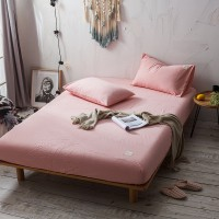 Pink Fitted Bed Sheet Washed Cotton Yarn Dyed Pure Plain Color Home Hotel
