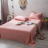 Pink Flat Bed Sheet Washed Cotton Yarn Dyed Pure Plain Color Home Hotel