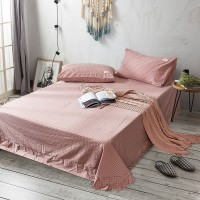 Pink Grid Flat Bed Sheet Washed Cotton Yarn Dyed Pure Home Hotel