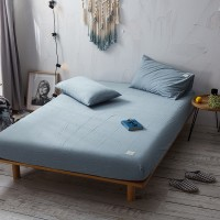 Slate Blue Fitted Bed Sheet Washed Cotton Yarn Dyed Pure Plain Color Home Hotel
