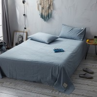Slate Blue Flat Bed Sheet Washed Cotton Yarn Dyed Pure Plain Color Home Hotel